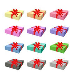 Set of Lovely Gift Box with Red Ribbon vector image vector image