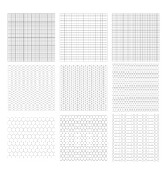 Set of nine gray geometric grids vector image vector image