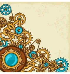 Steampunk collage of metal gears in doodle style vector image
