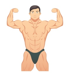 Bodybuilder showing muscles vector image