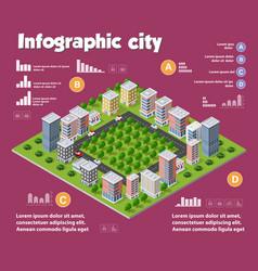 city isometric infographics vector image vector image