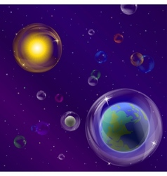 planets and sun in bubbles vector image vector image
