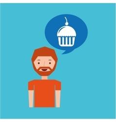 cartoon man cupcake cherry dessert design icon vector image
