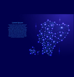 Ecuador map of polygonal mosaic lines network ray vector