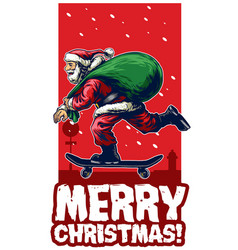 Santa claus riding skateboard christmas card vector
