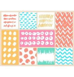 Set of creative cards with blots and scribbles vector image