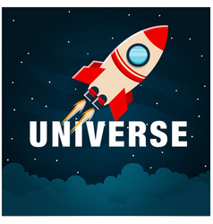Universe rocket flying in space image vector