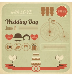 Wedding Day Invitation Infographics Card vector image