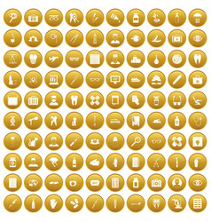 100 doctor icons set gold vector