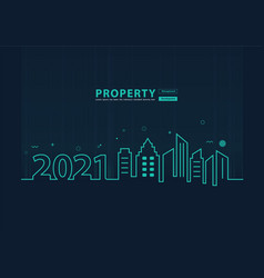 2021 new year city skyline line art creative vector image