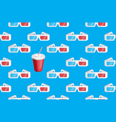 3d glasses and soda pattern on blue vector