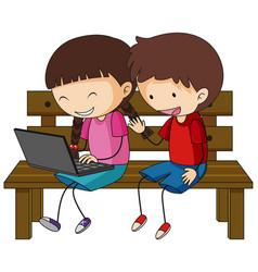 A doodle kids using laptop cartoon character vector