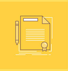Agreement contract deal document paper flat line vector
