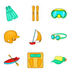 Aquatics icons set cartoon style vector