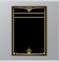 art deco template golden-black a4 page menu card vector image