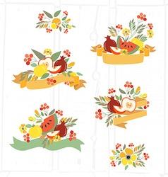 Autumn floral bundles with fruits vector
