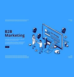 B2b marketing strategy isometric landing page vector