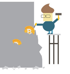 bitcoin mining concept business man digging coin vector image