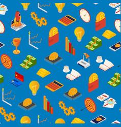 Blockchain startup signs 3d seamless pattern vector