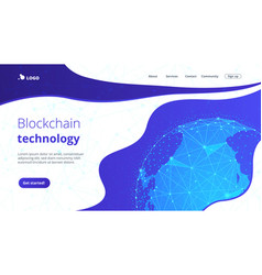 blockchain technology futuristic hud banner with vector image