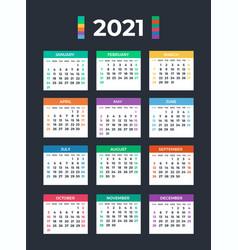 Calendar for 2021 on white background vector