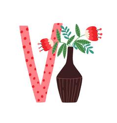 Capital letter v childish english alphabet with vector