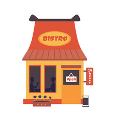 cartoon bistro building front with open sign vector image