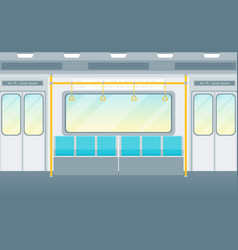 cartoon empty subway train card poster vector image