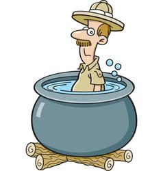 Cartoon explorer in a cooking pot vector image
