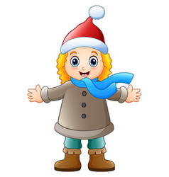 cartoon girl in winter clothes waving vector image