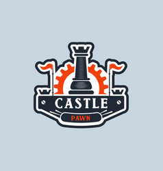 castle pawn logo sign symbol icon vector image
