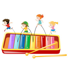 Children jumping on giant xylophone vector