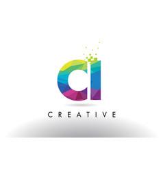 ci c i colorful letter origami triangles design vector image