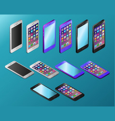 Colored realistic smartphones in isometry vector