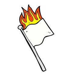 Comic cartoon burning white flag vector