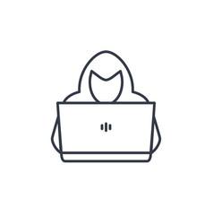 computer hacker line icon vector image