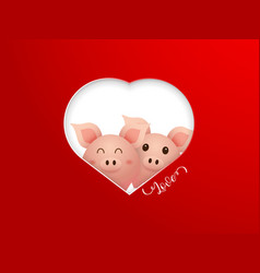 couple cute pig with heart shape frame vector image