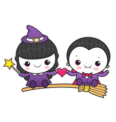 couple dracula and witch character is fly on a vector image