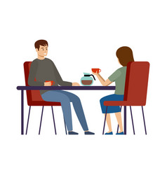 couple is drinking coffee in a cafe lunch break vector image