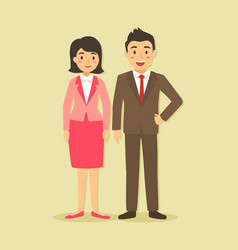 couple of businessman and businesswoman vector image
