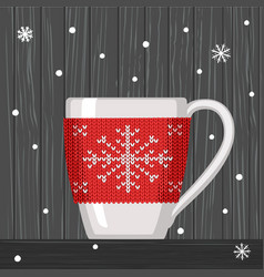 cozy knitting red with pattern snowflake for cup vector image