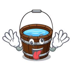 Crazy wooden bucket mascot cartoon vector