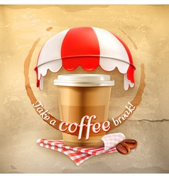 Cup coffee with coffee stain tablecloths coffee vector