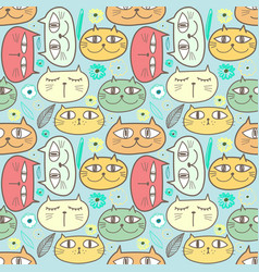 cute cat seamless pattern background vector image