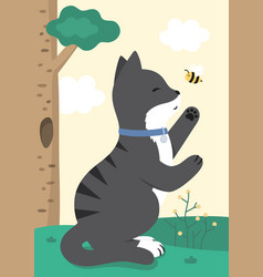 cute happy black cat and honey bee vector image