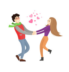 Cute lovers merrily hold each others stretch hands vector