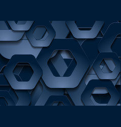 dark blue tech paper hexagons abstract background vector image