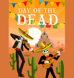 day dead mexican musician skeletons vector image