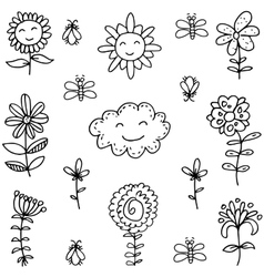 Doodle of spring with hand draw vector
