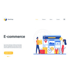 e-commerce landing page buyer people using shop vector image
